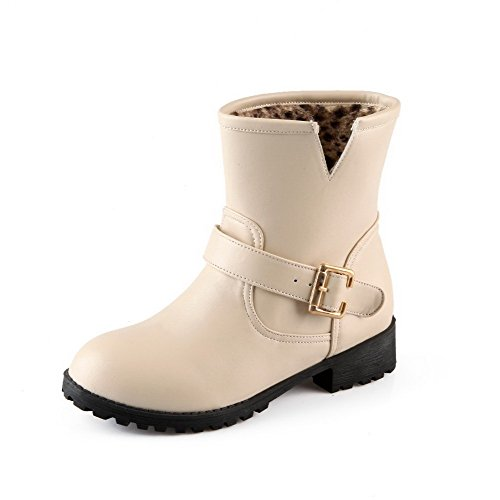 Allhqfashion Womens Mid-top Solide Pull-on Ronde Gesloten Neus Lage Hakken Laarzen Beige