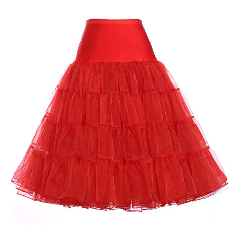 d0a7daacd GRACE KARIN Retro Mid Calf Length Petti Skirt for Junior(L, Red)