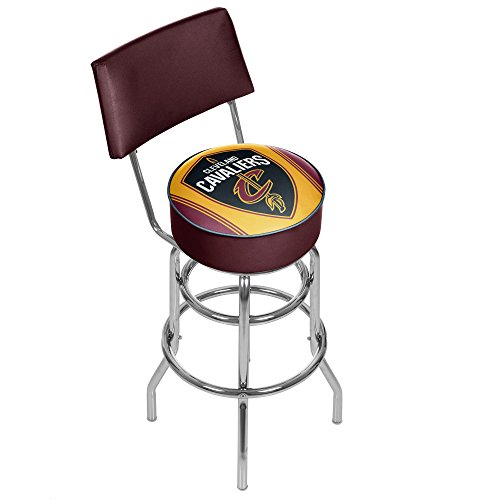 NBA Cleveland Cavaliers Padded Swivel Bar Stool with Back by Trademark Gameroom