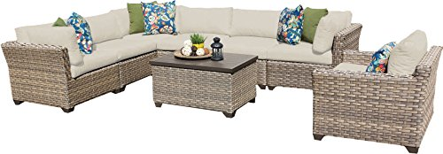 TK Classics MONTEREY-08b 8 Piece Monterey-08B Outdoor Wicker Patio Furniture Set, Beige (Monterey Sectional)