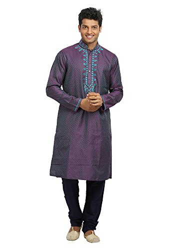 Saris and Things Dark Violet Trendy Indian Wedding Kurta Pajama for Men by Saris and Things