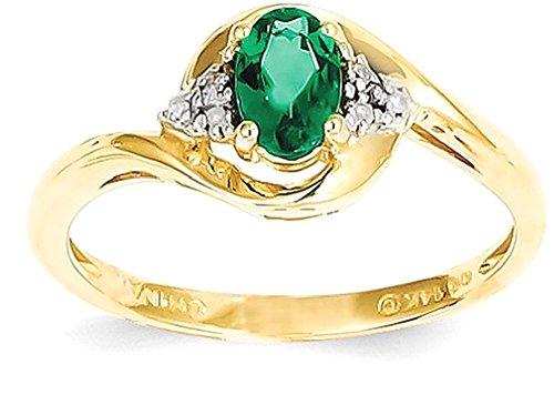 ICE CARATS 14k Yellow Gold Diamond Green Emerald Band Ring Size 7.00 Stone Birthstone May Set Style Fine Jewelry Gift Set For Women Heart (Set Emerald Jewelry Diamond)