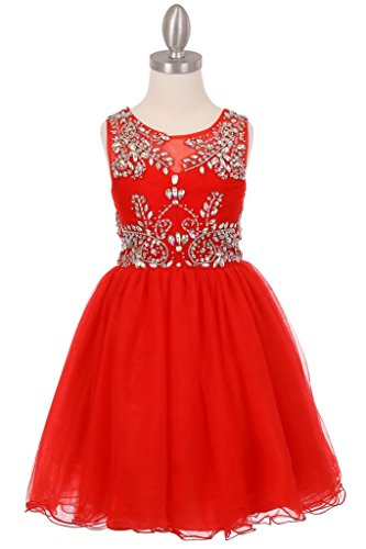 The Couture Dresses-Tulle AB stone wired short dress, Red (Tween Dresses Formal)