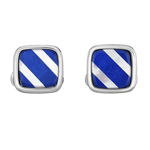 Sterling Silver With Rhodium Finish 15x15mm Shiny Square Fancy Cuff Link Mother Of Pearl - Lapis Pin Gold Tie