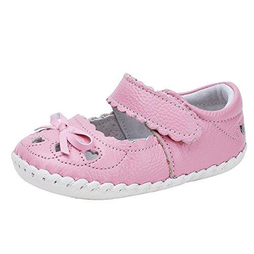 (Baby Girls Genuine Leather Anti-Slip Summer Prewalker Toddler Sandals First Walkers Outdoor Shoes (11.5cm(6-12months), Pink Hollow))