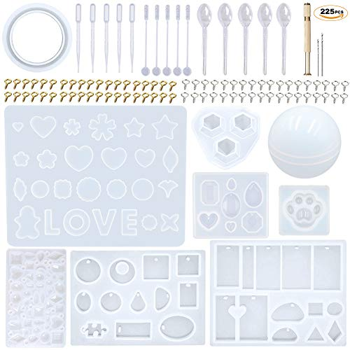- EuTengHao 225Pcs DIY Jewelry Silicone Casting Molds Tools Set Contains 9 Silicone Resin Jewelry Molds,2 Necklace Pendant Resin Molds,1 Earring Silicone Mold,Diamonds Mold,Bear Claw Mold,Sphere Mold