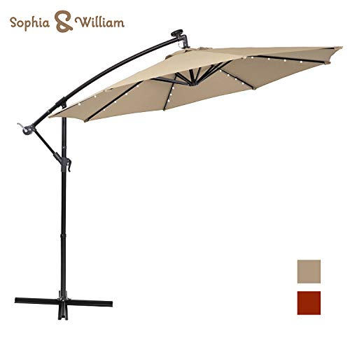Sophia and William 10ft Patio Offset Umbrella Cantilever Outdoor Solar Lighted Umbrella with 32 PCS LED Lights, Cross Base and 8 Ribs (Beige)