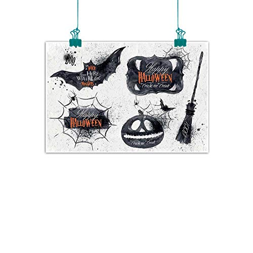 Warm Family Vintage Halloween Chinese Classical Oil Painting Halloween Symbols Happy Holiday Witch Lives Here Broomstick Spider Web for Living Room Bedroom Hallway Office 35