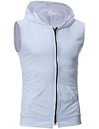 KLJR Mens Hipster Hip Hop Sleeveless Full Zip Hooded Vest