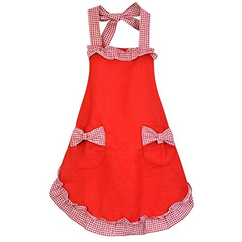Rbenxia Womens Apron with Pockets Adjustable Bib Apron with Pockets Extra Long Ties Women Kitchen Apron for Cooking, Crafting, Gardening, Kitchen Womens Cake Apron With Pocket Red
