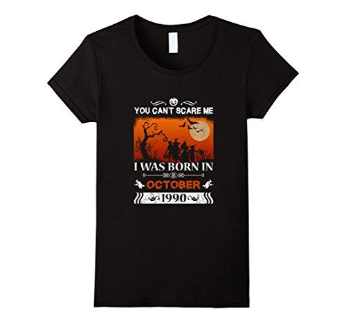 1990's Halloween Costume Idea (Womens Born in October, 1990 - 27th Birthday - Halloween T-shirt Large Black)