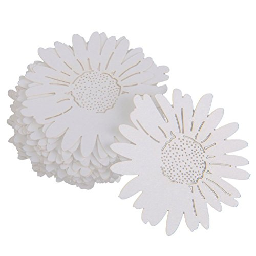 Tinksky Table Name Place Card Daisy Flower Style for Wine Glass Wedding Party Decoration,Pack of 50 (White)