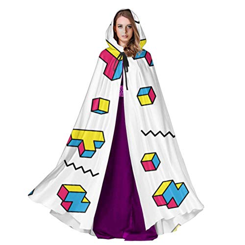 Color Game Three-Dimensional Block Russian Tetris Men S Hooded Cloak Cloak Cape 59inch for Christmas Halloween Cosplay Costumes