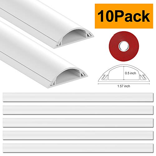 D Channel Cord Cover Raceway Kit - UMTELE 157 inch On-Wall Cable Concealer - Paintable Cable Management Channel Wire Hider for Home Office,10 X L15.7 W1.57 H0.5,White - Management Wall Kit Cable