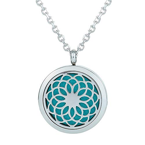 GerTong Essential Oil Diffuser Necklace, Hypo-Allergenic Premium 316L Stainless Steel Aromatherapy Diffuser Locket Pendant Set with 11 Color Refill Pads (Hollow)