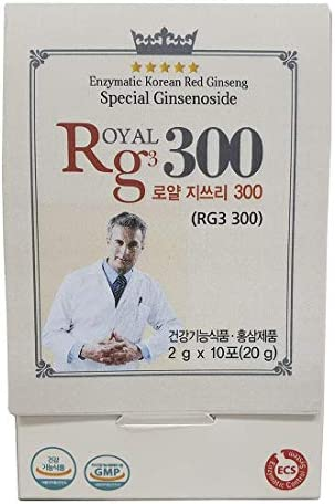 RG3 300- Ginsenosides Rg3 Enhanced Rg3 50mg Sachet Korean Red Panax Ginseng Powder-Made in Korea, 10 Sachets, Rare Ginsenoside 3