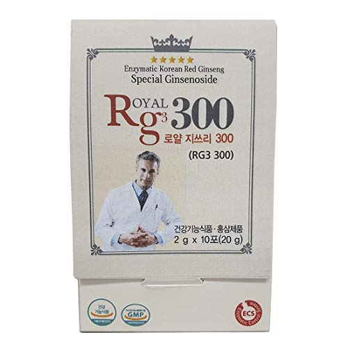 RG3 300- Ginsenosides Rg3 Enhanced Rg3 50mg Sachet Korean Red Panax Ginseng Powder-Made in Korea, 10 Sachets, Rare Ginsenoside 2