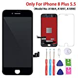 Screen Replacement Black for iPhone 8 Plus (5.5 Inch Black), 3D Touch LCD Screen Digitizer Replacement Frame Display Assembly Set with Repair Tool Kit