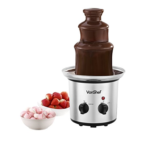 VonShef Premium Luxury Chocolate Fountain, Warmer, Fondue with built in Chocolate Warmer