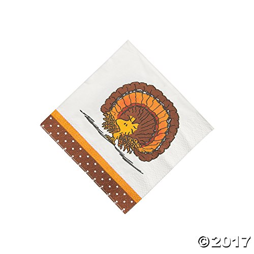 Peanuts Thanksgiving Napkins Beverage 16 Count Party Napkins -