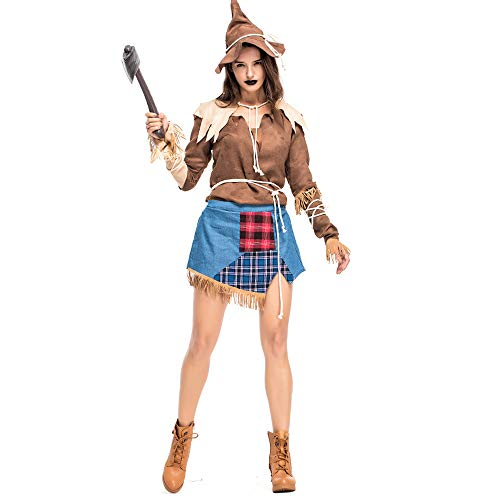 CT COUTUDI COUTUD Halloween Costume Women Scarecrow Drama Stage Costume