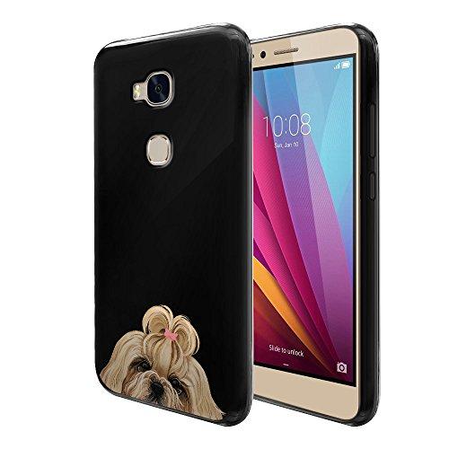 FINCIBO Honor 5X Case, Flexible TPU Black Silicone Soft Gel Skin Protector Cover Case For Huawei Honor 5X/Sensa 4G LTE H710VL H715BL - Gold White Shih Tzu Dog