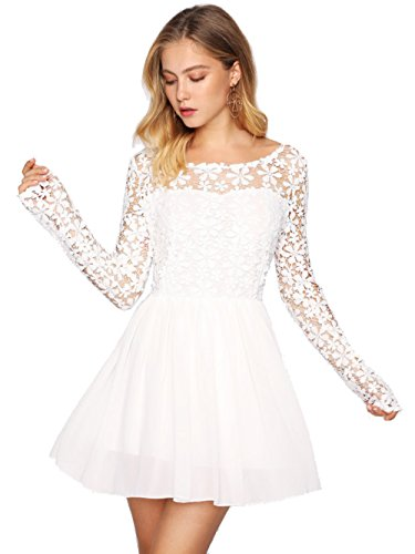 Milumia Women's Hollow Out Crochet Panel V Back Chiffon Mini Swing Dress Large White (Back Chiffon)