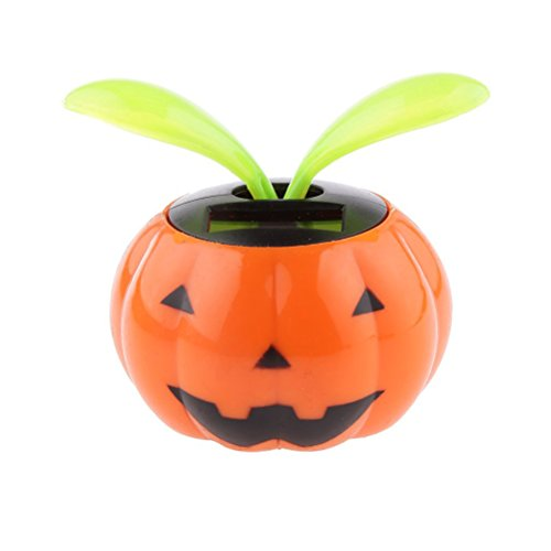 Tinksky Solar Powered Pumpkin Shape Flower Pot Flip Flap Leaf Dancing Toys Car Decoration - Christmas Birthday Gift for Children