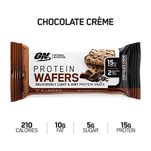 New! OPTIMUM NUTRITION High Protein Wafer Bars, Low Sugar, Low Fat, Low Carb Dessert, Flavor: Chocolate, 9 Count