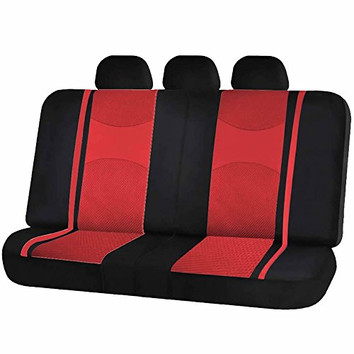 (U.A.A. INC. Mesh Honeycomb Back Split Bench Seat Cover Headrest Covers Set for Car Truck Suvs (Red))