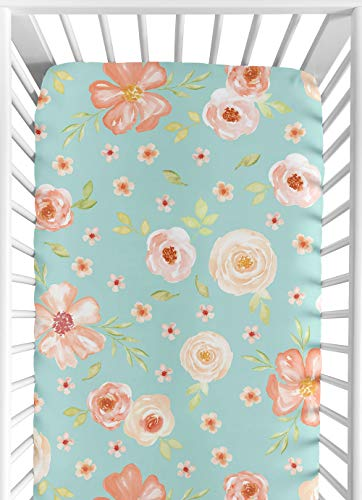 Sweet Jojo Designs Turquoise and Peach Baby or Toddler Fitted Crib Sheet for Watercolor Floral Collection - Pink Rose Flower ()