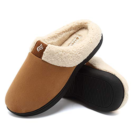 Microfiber Clog Suede (CIOR Fantiny Women's Memory Foam Slippers Suede Wool-Like Plush Fleece Lined Slip-on Clog Scuff House Shoes Indoor & Outdoor-U118WMT024-tan-42.43)