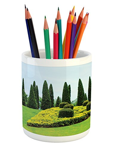 (Lunarable Garden Pencil Pen Holder, Classic Formal Designed Garden Evergreen Shrubs Boxwood Topiaries Picture, Printed Ceramic Pencil Pen Holder for Desk Office Accessory, Green and Baby Blue)