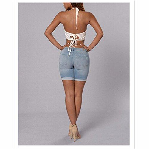 skinny donna Jeans donna Jeans Zipper con vita Jeans estivi FuweiEncore Azzurro skinny Pantaloncini strappati da da fori a Jeans bassa 5xtzqw0R