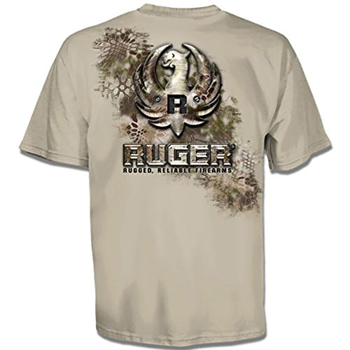 Sturm Ruger (Sturm Ruger & Co Kryptek Metal Eagle Logo Firearms Men's Sand T-Shirt (XL)