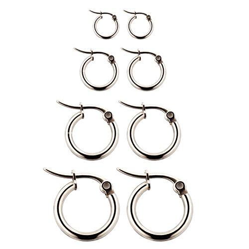 4 Pairs Stainless Steel Rounded Small Hoop Earrings Set for Women Nickel Free,Silver Womens Helix Tights
