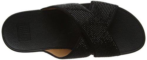 Fitflop Ritzy Slide Sandals, Sandalias con Punta Abierta Para Mujer Black (Black)