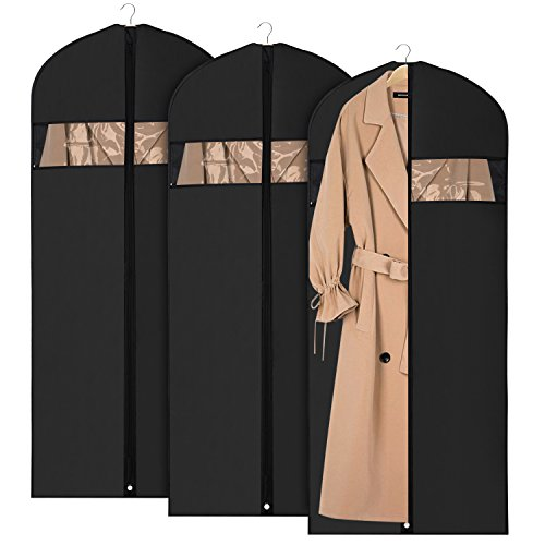 Univivi Garment Bag Suit Bag for Storage and Travel 60 inch, Anti-Moth Protector, Washable Suit Cover for Dresses,Suits,Coats,Set of 3