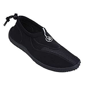 New Mens Slip on Water Pool Beach Shoes Aqua Socks (9, Black 5907)