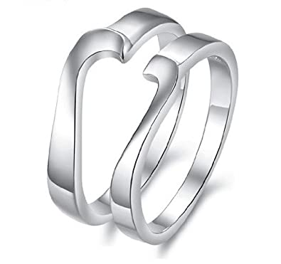 His Hers Matching Set Platinum Plated Couple Ring Wedding Band Set Simple Korean Style Heart