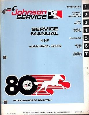 - 1980 JOHNSON OUTBOARD MOTOR 4 HP SERVICE MANUAL JM-8004 (491)