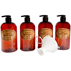 Bottiful Home-16 oz Empty Amber PET Plastic Shampoo, Conditioner, 2 Hand Soap Bottles-Tan Waterproof Labels-100% Rust-FREE, Clog-FREE, Drip-FREE-Plus Bonus Twist-on Funnel