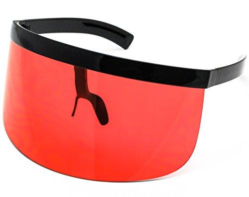 Elite Futuristic Oversize Shield Visor Sunglasses Flat Top Mirrored Mono Lens 172mm (Orange, 172)