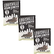 Louisville Vegan Jerky - Smoked Black Pepper, Vegetarian & Vegan Friendly Jerky, 21 Grams of Non-GMO Soy Protein, Gluten-Free Ingredients (3 oz) | 3-Pack