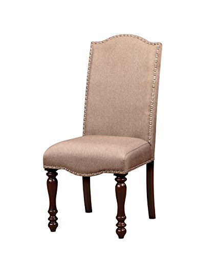 HOMES: Inside + Out Anson Transitional Dining Chair (Set of 2), Antique Cherry - Fabric Cherry Finish