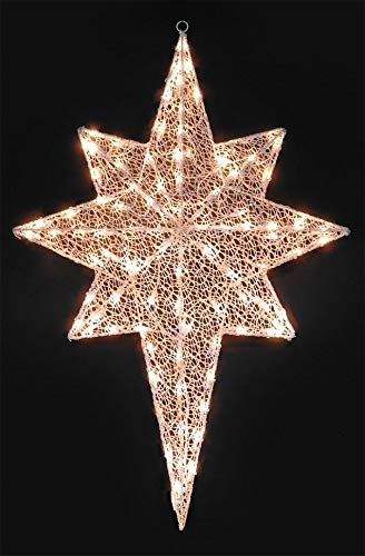 (hm Lighted White Glittering Mesh 2-D Star of Bethlehem Christmas Yard Art Decoration, 36
