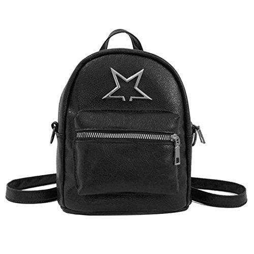 Anxinke Women Girls PU Leather Small Backpacks Satchel Bag (Black) by Anxinke