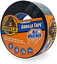 "Gorilla All Weather Outdoor Waterproof Duct Tape, UV and Temperature Resistant, 1.88"" x 25 yd, Black (Pac"