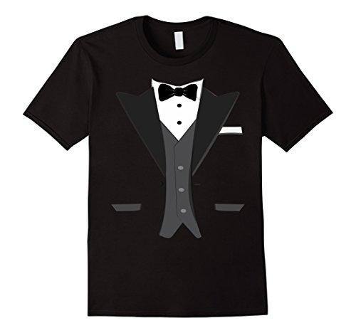 [Mens Tuxedo Halloween Wedding Groom Prom Costume Funny T-shirt 2XL Black] (Tuxedo Halloween Costumes Ideas)