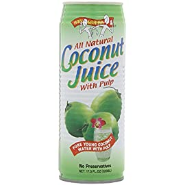 Amy & Brian Coconut Water, Can Lime, 17.5 Fl Oz (Pack of 12) 1 Never from concentrate, non-GMO, and all natural from young coconuts in Thailand. Contains potassium, magnesium, calcium and other essential electrolytes to keep you going throughout the day. Delicious and nourishing as an everyday drink with no added sugars or artificial additives; refreshing and hydrating before, during or after exercise.
